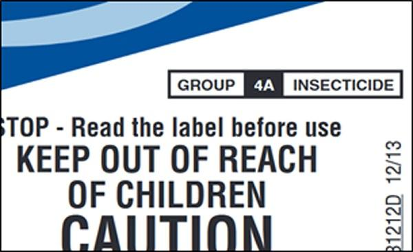 Figure 3. IRAC mode of action group listing is on the front of most commercial insecticide labels
