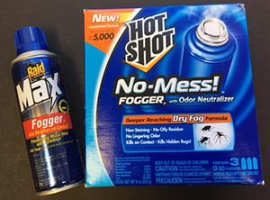 "Foggers (""bug bombs"") are not recommended for controlling cockroaches."