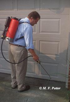 Insecticides applied around doors and exterior openings can help reduce pest entry.