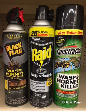 Wasp and hornet sprays are useful when treating nests from a distance.
