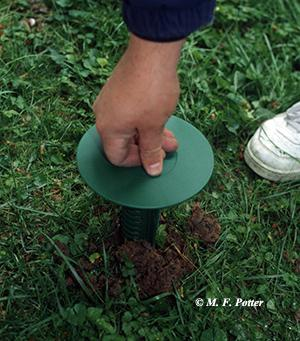 Inserting a termite bait station into the soil.