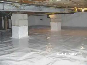 Moisture in crawl spaces can be reduced by installing plastic sheeting.