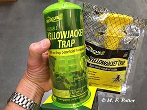 Yellowjacket traps may capture several wasps, but do not necessarily alleviate the problem.
